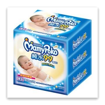 滿意寶寶 溫和純水厚型濕巾補充包(80入 x 3包/組)
