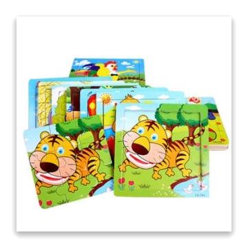 【1入】兒童啟蒙認知9片動物木質拼圖 拼板玩具書(隨機出貨)
