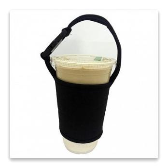 環保飲料杯防燙手提袋-素色款(1入)黑色
