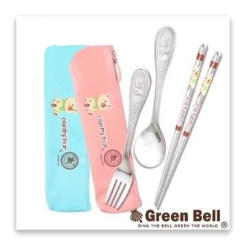 綠貝304不鏽鋼鄉村熊三件式環保餐具組(粉紅或粉藍 隨機出貨)